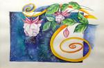 weiß-pinke Fuchsie, auf blauem Aquarell-Fond, grafischer Bildaufbau