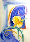 gelbe Orchidee, auf blauem Aquarell-Fond, grafischer Bildaufbau
